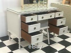 Bureau De Coiffeuse En Tête Verre Peint À La Crème Vintage + Tabouret Et Miroir Livraison