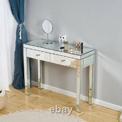 Bureau De Table En Verre De Maquillage Miroir Avec 2 Tiroirs Console Chambre Vanité