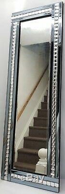 Cadrage En Mur Miroir Fumée Gris Argenté Cristal 120x40cm Hall D'entrée Dressing