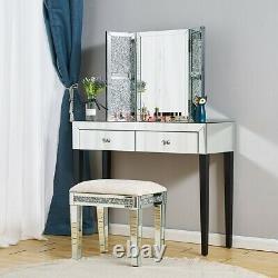 Chambre 1/2 Tiroirs Miroir Dressing Table Coussiné Tabouret Miroir Royaume-uni