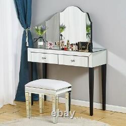 Chambre 1/2 Tiroirs Miroir Verre Dressing Table Coussiné Tabouret Miroir Ensemble Royaume-uni