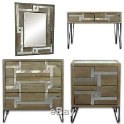 Chambre Miroir Coiffeuse Console Table De Chevet Commode Mirrored Verre