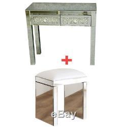 Chic Vénitien En Verre Mirrored Chambre Coiffeuse Ou Console Table Avec Tabouret