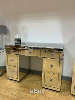 Classique Argent Miroir Miroir En Verre 7 Tiroirs Chambre Coiffeuse Vanity