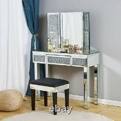 Coiffeuse En Miroir Brillant Tabouret De Maquillage Maquillage Chaise De Bureau