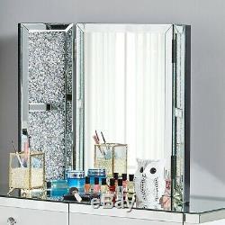 Coiffeuse Maquillage Bureau Tabouret Miroir Tiroirs Mirrored Bijoux En Cristal En Verre