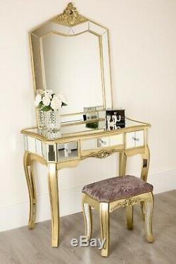 Coiffeuse Miroir 1 Tiroir Mirrored Et Tabouret Chambre Set Champagne Or