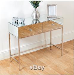 Coiffeuse Mirrored Moderne 2 Tiroirs Cristal Poignées Console Miroir Table