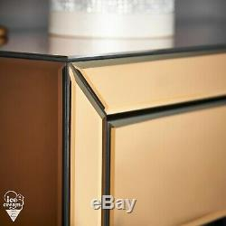 Coiffeuse Mirrored Or Rose Cristal Poignée Chambre Bureau Vanity Furniture