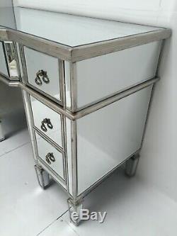 Console Coiffeuse Mirrored Bureau D'argent Vénitien Meubles En Verre Vintage