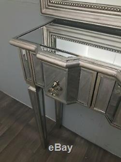 Console Coiffeuse Mirrored Tv Stand 2 Tiroirs D'argent Moderne Meubles En Verre