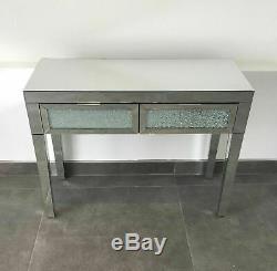 Console En Verre De Verre En Miroir Concassé Crackle Table Coiffeuse