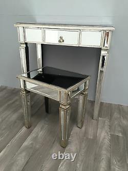 Console Miroir Bureau Chambre Table De Dressing Verre Vénitien 1 Rangement De Tiroirs