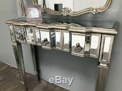 Console Mirrored Coiffeuse Bureau 3 Tiroirs Vintage Vénitien Meubles En Verre