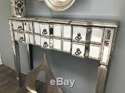 Console Mirrored Coiffeuse Bureau 6 Tiroirs Vintage Vénitien Meubles En Verre