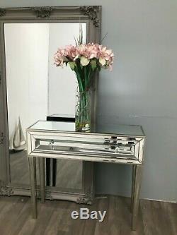 Console Mirrored Coiffeuse Bureau Meubles En Verre Vénitien 1 Tiroir Accueil
