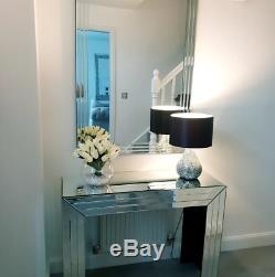 Console Moderne En Verre Table De Venise Mirrored Vinaigrette Argent Hall D'entrée Meubles