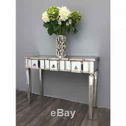 Console Table En Verre Mirrored Vinaigrette Tiroir Hall D'entrée Antique Vintage Rustique