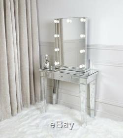 Console Table Mirrored Hall D'entrée Meubles Vénitien Coiffeuse Tiroir De Rangement
