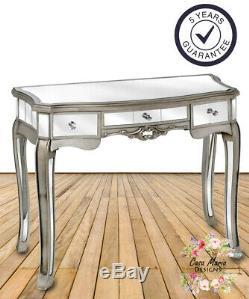 Console Table Mirrored Petit Dressing Verre Vintage Argent Antique Avec Tiroirs