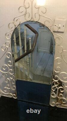 Crème Vintage Wrought Iron Français Antique Dressing Table Vanity Mirror Glass Top