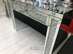 Crush Mousseux Verre Mirrored Coiffeuse Console 2 Tiroirs 120x80x40cm