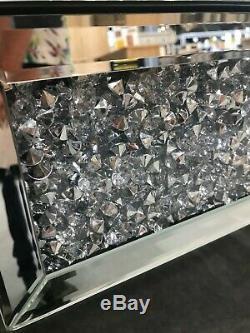 Crushed Cristal Mirrored Coiffeuse Avec 2 Tiroirs, Écrasement Diamant