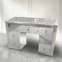 Crushed Crystal Top Miroir Coiffeuse 7 Tiroirs Livraison Gratuite