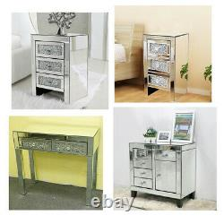 Crystal Mirrored Glass Bedroom Range Dressing Dressing Table Coffres De Tiroirs