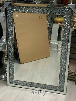 Diamant Crush Cristal Argent Pansement Sparkly Miroir Mural Rectangle Gatsby