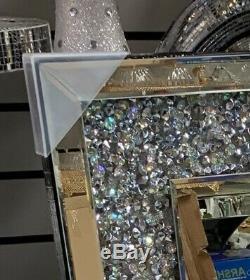 Diamant Crush Cristal Argent Pansement Sparkly Miroir Mural Rectangle Gatsby Royaume-uni