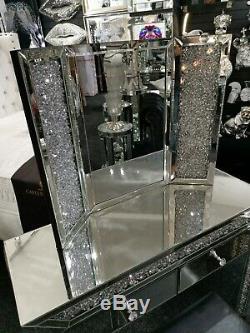 Diamant Crush Cristal Mirrored 3pc Coiffeuse Ensemble, Ensemble Complet, Livraison Gratuite