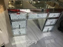Diamant Glitz Argent Miroir Verre 7 Tiroir Habillage Table Cristaux Écrasés Nouveau
