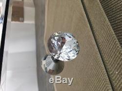 Diamant Glitz Argent Mirrored Verre 7 Tiroirs Coiffeuse Concassés Cristaux