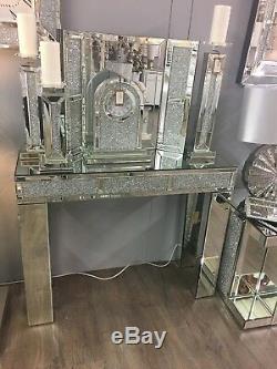 Diamant Glitz Mirrored Concassés Briques Affichage À Cristaux Console Coiffeuse