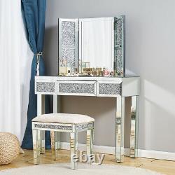 Diamant Magnifique Mirrored Coiffeuse En Verre Tiroir Coiffeuse, Miroir, Tabouret