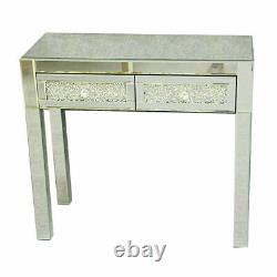Diamond Crush Crystal 2 Tiroirs Dressing Table Miroir Makeup Dresser Desk Royaume-uni
