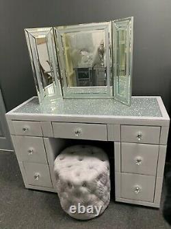 Diamond Glass Crush Blanc 7 Mirrored Tiroirs Coiffeuse Concassée Cristaux