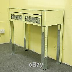Dresser Mirrored Sparkly Cristal 2 Tiroirs Coiffeuse Console Table Vanity