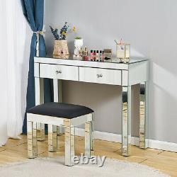 Dressing En Verre Miroir Table De Maquillage Vanity Bureau Chambre Tiroir & Mirror&stool Royaume-uni