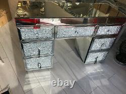 Dressing Miroir 7 Tiroirs Sparkly Silver Diamond Crush Crystal 120cm
