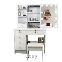 Dressing Moderne Avec 6 Tiroirs Tabouret Led Lighted Mirror Makeup Set Blanc