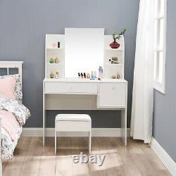 Dressing Table Avec Tabouret Miroir Grands Tiroirs Ouvrir La Chambre À Coucher De Bureau D'écriture D'étagère