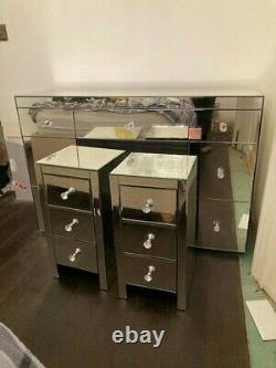 Dressing Table Crystal Miroir Et Paire Armoires De Chevet 3 Tirages
