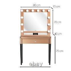 Dressing Table Hollywood Bulbs Mirror Bluetooth Speaker Plug Usb Rose Gold Set