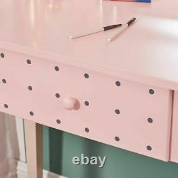 Dressing Table Makeup Desk Withled Light Mirror & 4 Drawer, Stool Bedroom Pink Uk