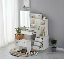 Dressing Table Maquillage Bijoux Vanity Desk Avecsliding Mirror Stool Set &4 Tiroirs