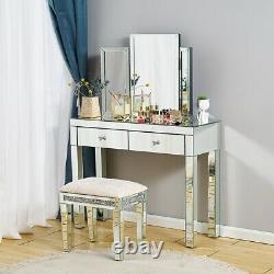Dressing Table Miroir Vanity Makeup Stool Dresser Glass Drawer Bedroom Console