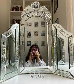 Dressing Table Mirror Three Panel India Jane Vintage