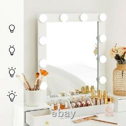 Dressing Table Set Makeup Vanity Table With Mirror/light Bulbs White Rdt192w01